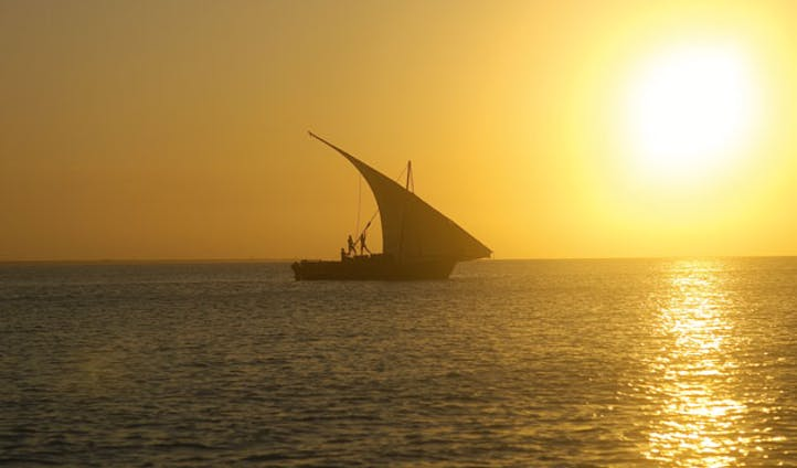 View of a dhow off the shores of Mozambique