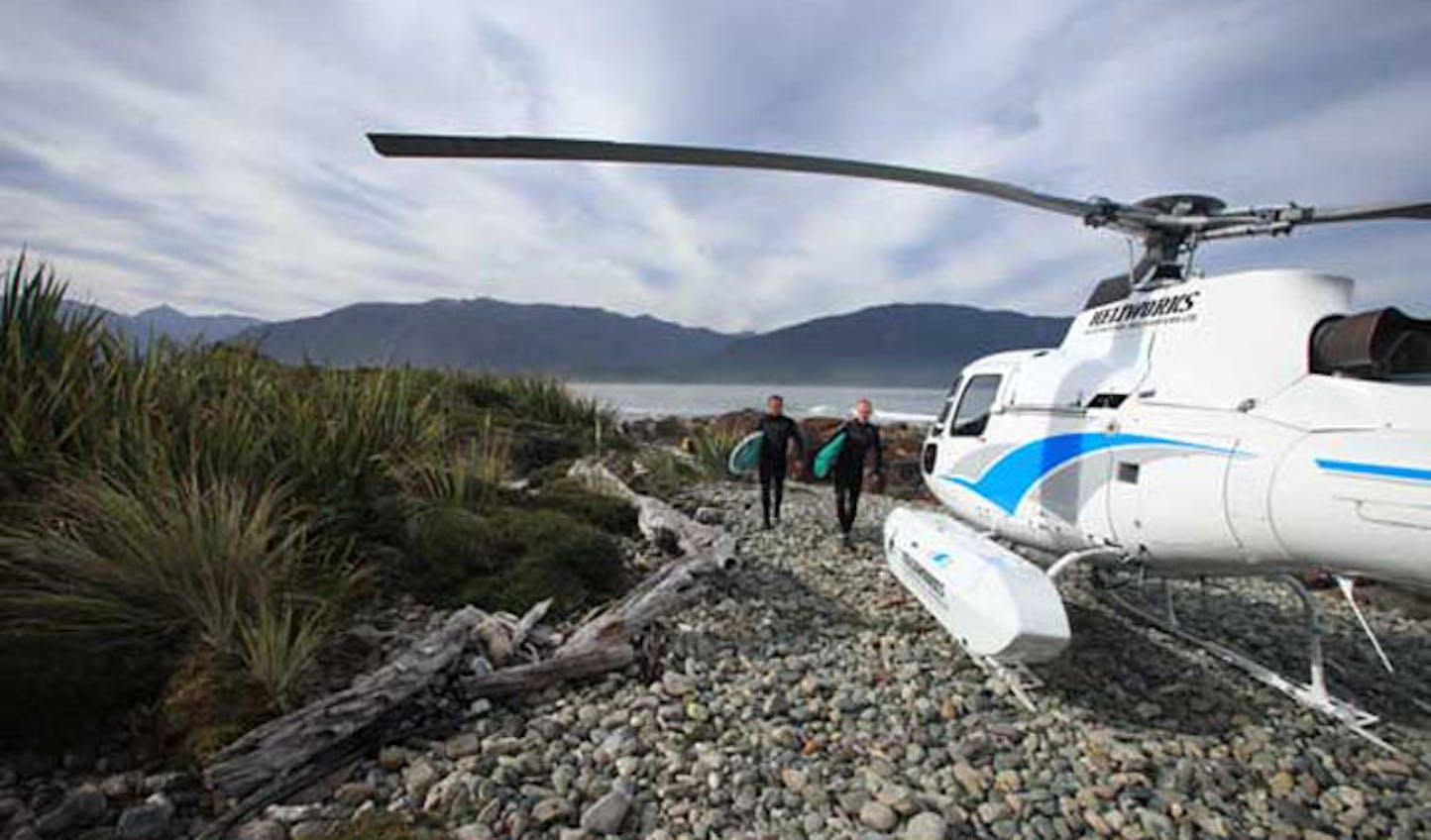 heli-surfing in New Zealand