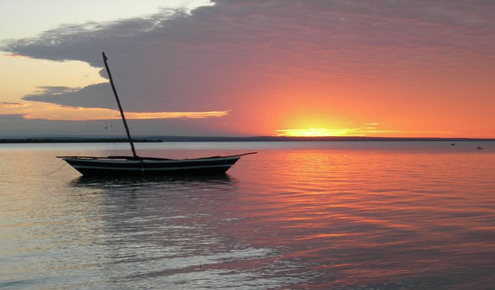 View of the sunset in Mozambique