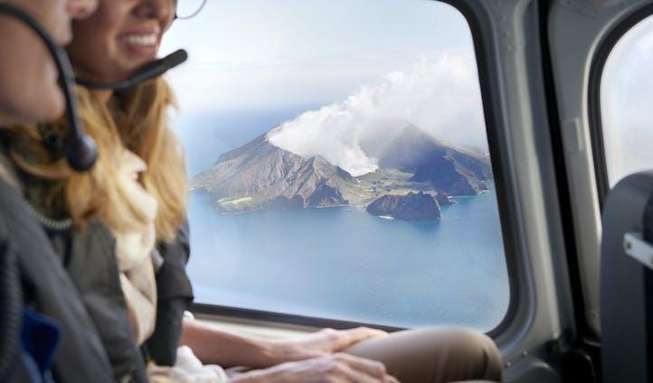 A heli flight above White Island NZ