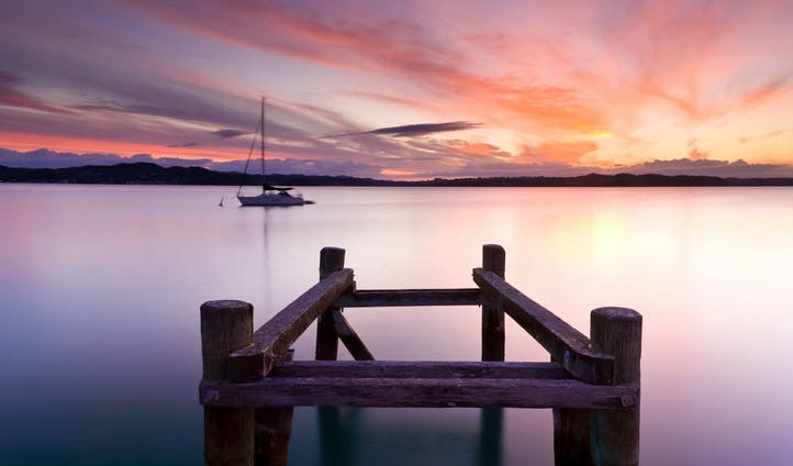 The Bay of Islands at sunset
