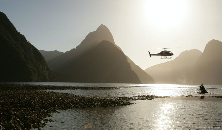 Milford Sound helicopter tours above glistening waters