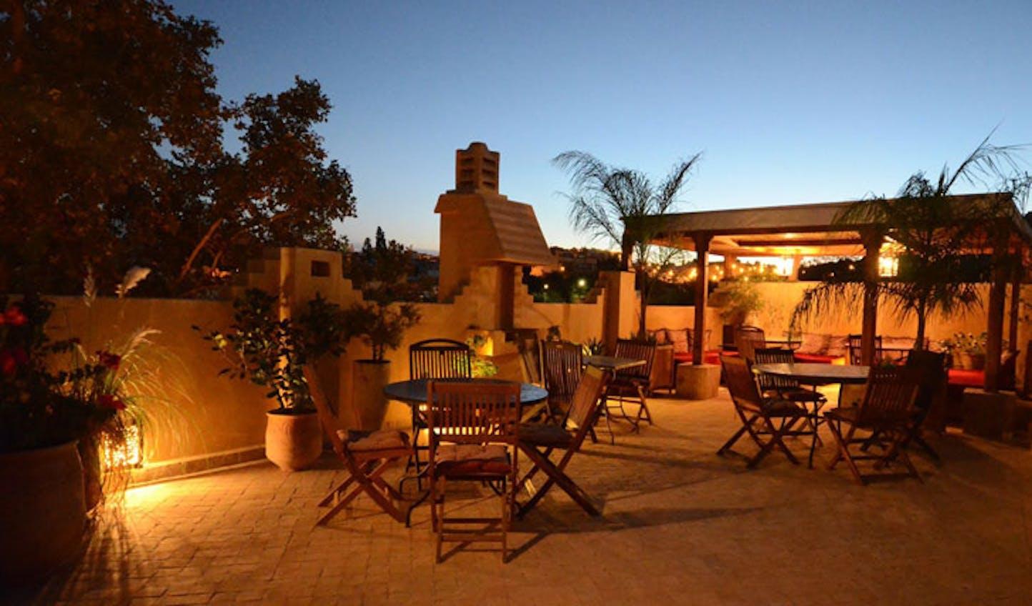 Roof terrace, Dar Roumana, Morocco