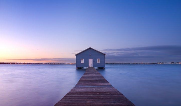 A boathouse at dawn in Perth