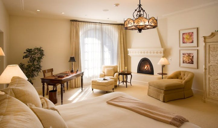 A luxurious bedroom at Ojai Valley Inn and Spa