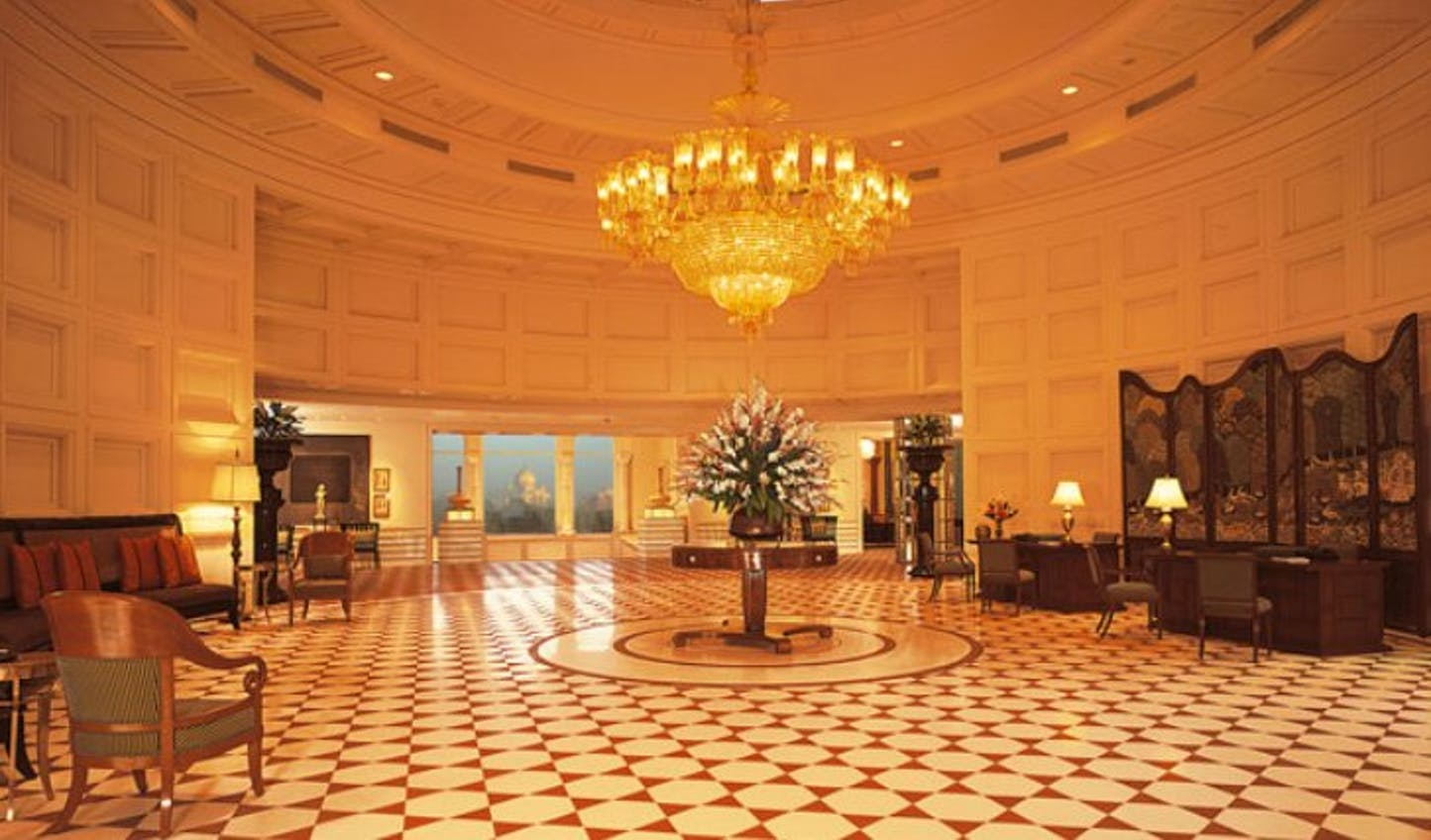 The domed lobby at Amarvillas, Agra, India