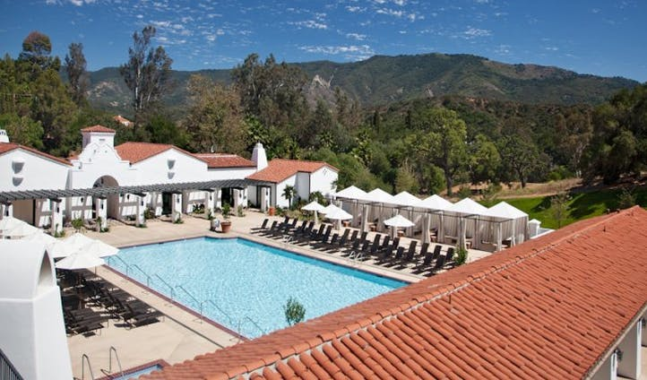 View over the herb garden and pool at Ojai Valley Inn and Spa, USA