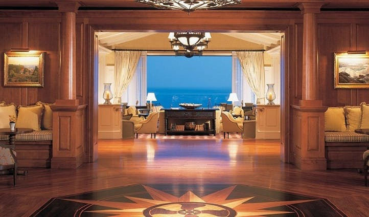 The polished wood lobby at Montage Laguna Beach, USA