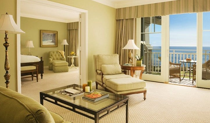A bedroom with sea views at Montage Laguna Beach, USA