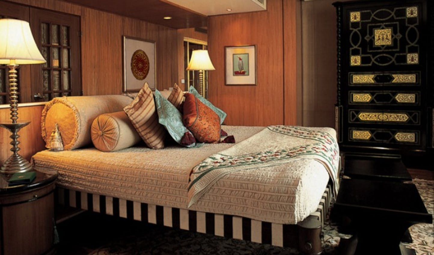 The luxurious interior of a bedroom at Amarvillas, Agra, India