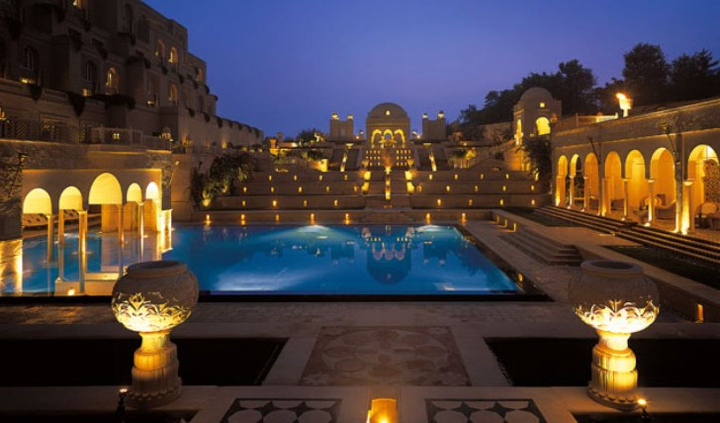 Stunning pool areas lit up at night at Amarvilla, Agra, India