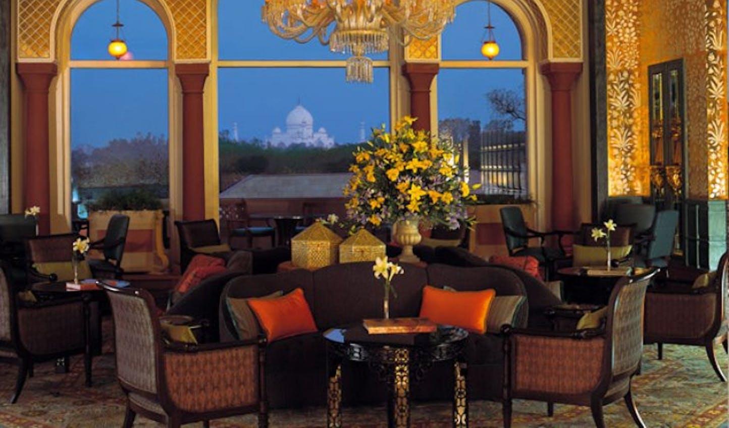Fantastic views over the Taj Mahal at Amarvillas, Agra, India