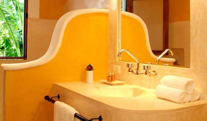 Pastel coloured bathroom