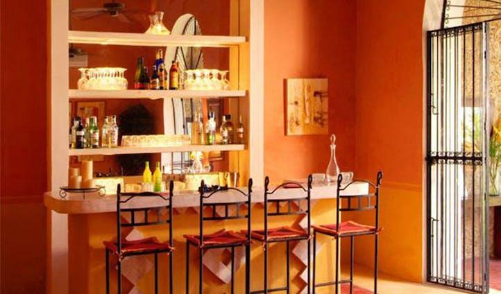 Cocktails and stools at La Hacienda, Merida