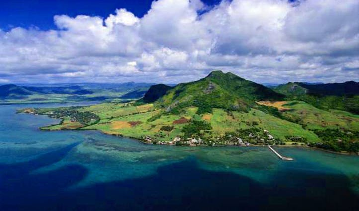 The blue skies over Mauritius