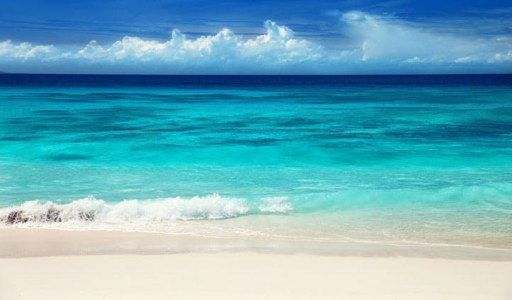 Clear blue ocean in Mauritius