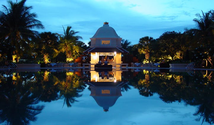 The hotel pool replicating the ancient bathing pools of the Khmer Kings