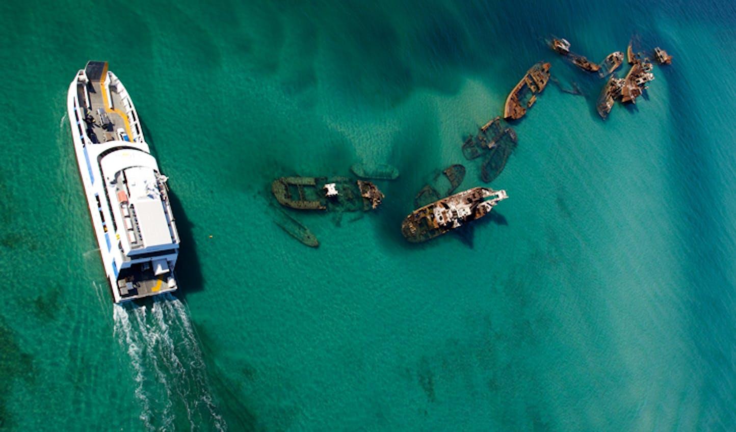 Boat at the Tangalooma Wrecks