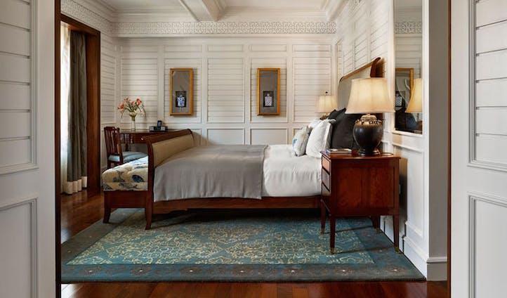Luxury bedroom at Plaza Athenee New york.