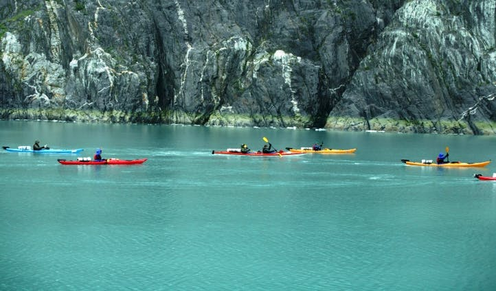 Kayak icy waters in Seward