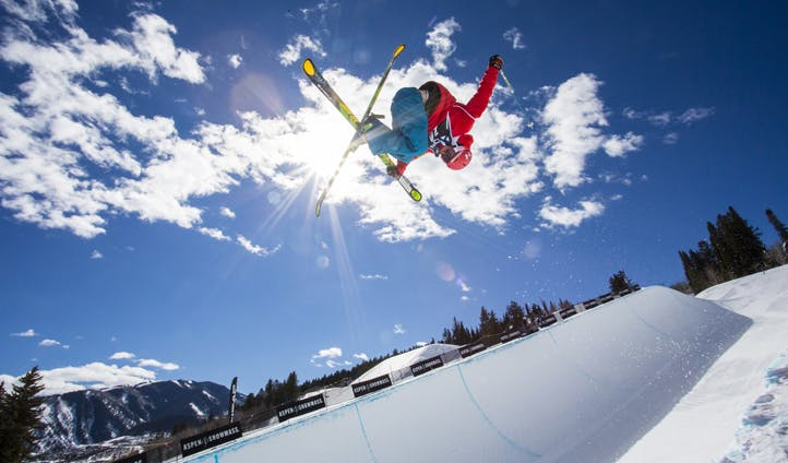 Ski tricks and jumps in Aspen Snowmass