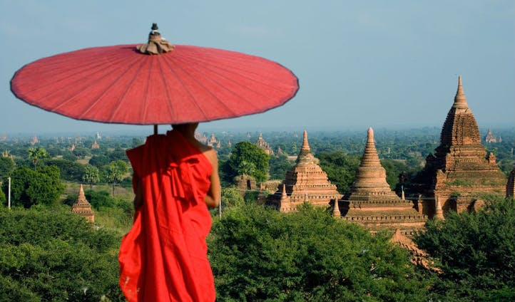 Monk at ancient temples in Myanmar