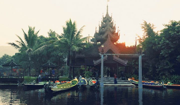 Entrance to luxury hotel by Inle Lake in Myanmar