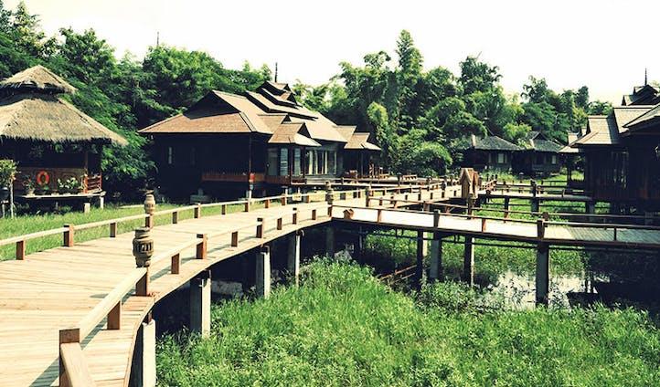 Lakeside bungalows at luxury resort in Myanmar