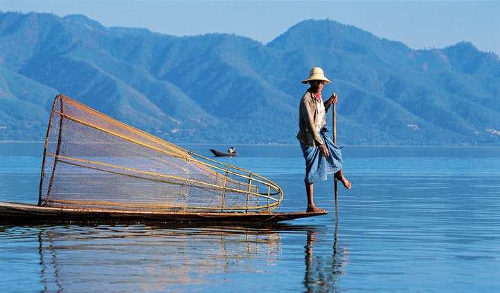 View of mountains on Inle Lake
