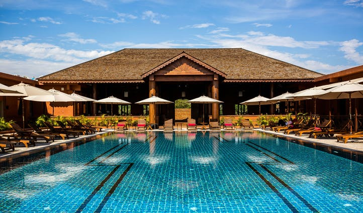 Swimming pool at luxury Bagan Lodge in Myanmar