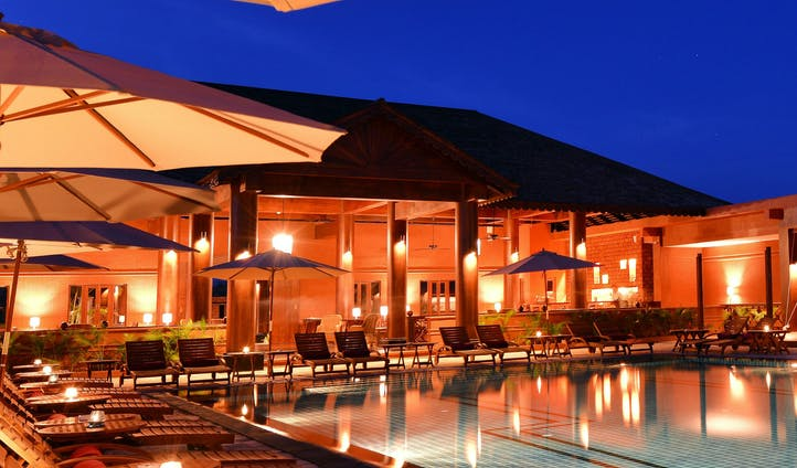 Pool at dusk at luxury resort in Myanmar