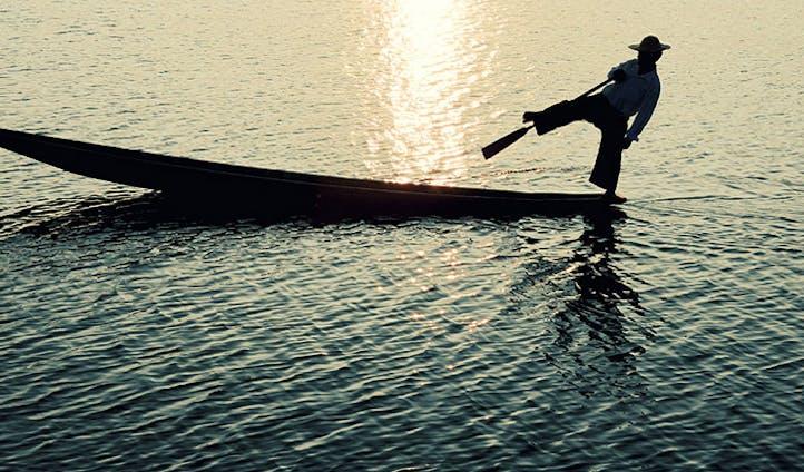 Rower on the lake in Myanmar