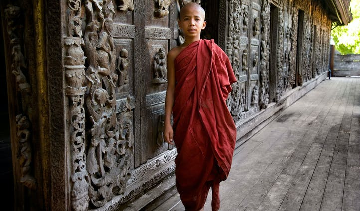 Monk in monastery in Myanmar