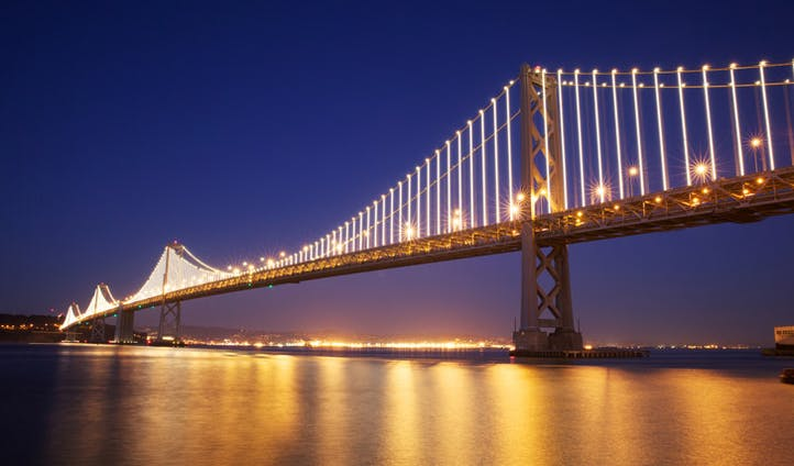 Oakland Bay Bridge light show, San Francisco