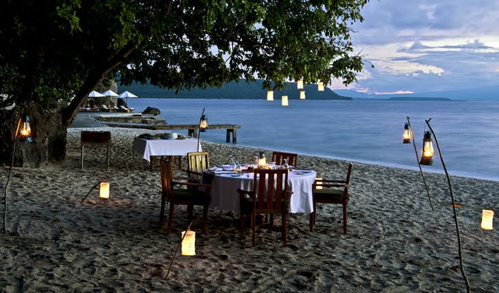 Luxury hotel dining at Amanwana on Mojo Island, Indonesia