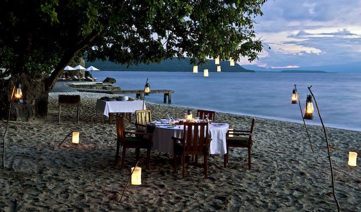 Luxury hotel dining at Amanwana on Mojo Island, Indonesia