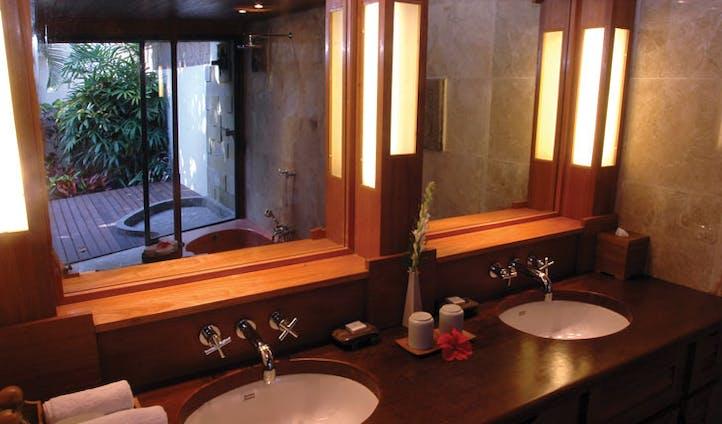 Luxury hotel bathroom at Jimbaran Puri, Bali, Indonesia