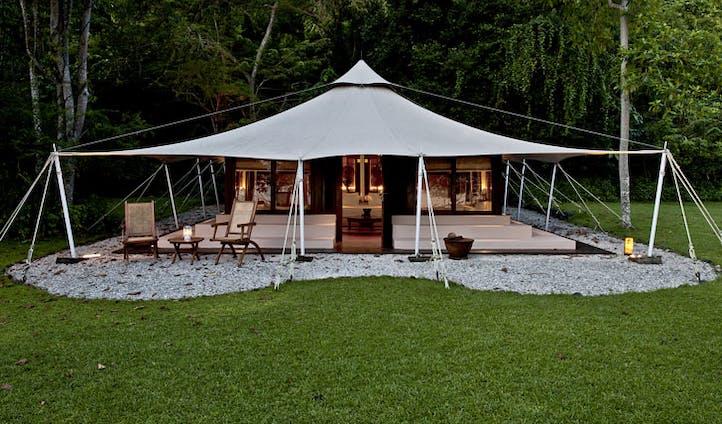 Luxury hotel tent at Amanwana on Mojo Island, Indonesia