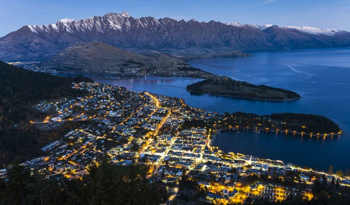Queenstown with lakes, New Zealand
