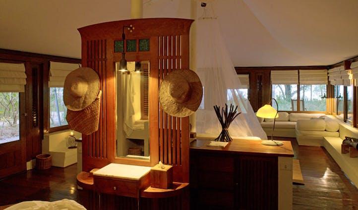 Luxury hotel tent interior at Amanwana on Mojo Island, Indonesia