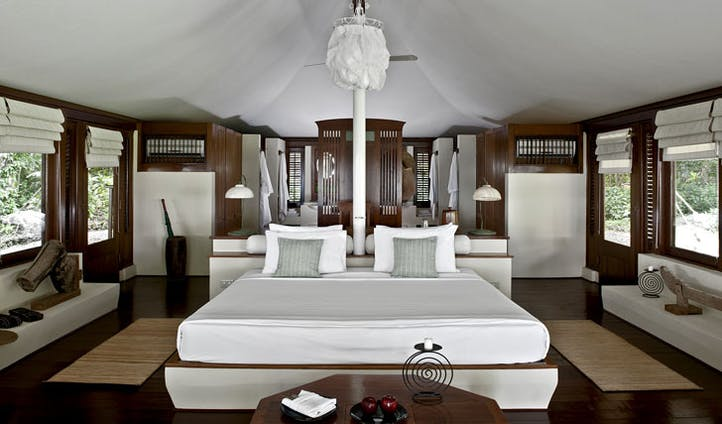 Luxury hotel tent interior at Amanwana on Mojo Island, Indonesia