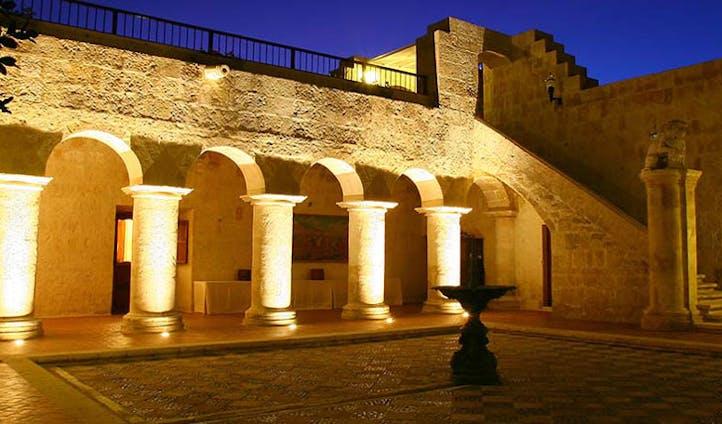 Luxury hotel courtyard at Casa Andina, Arequipa, Peru