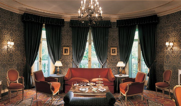 Luxury hotel suite sitting room at the Hotel Ritz Madrid, Madrid, Spain