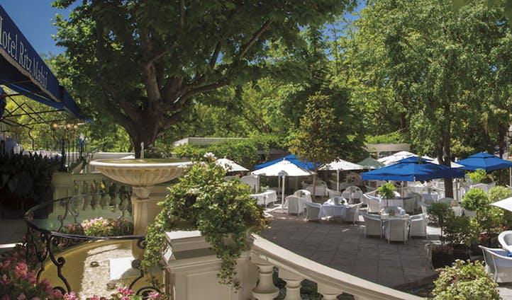 Luxury hotel terrace at the Hotel Ritz Madrid, Madrid, Spain