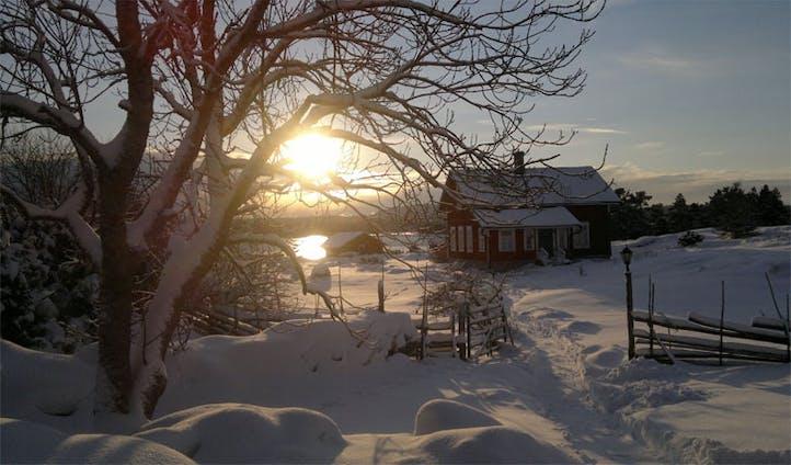 Snow over Silverskar Aland Islands