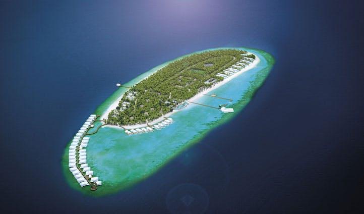 Aerial view of the Amilla Fushi, The maldives