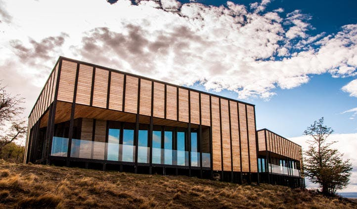 The striking exterior of Awasi Patagonia