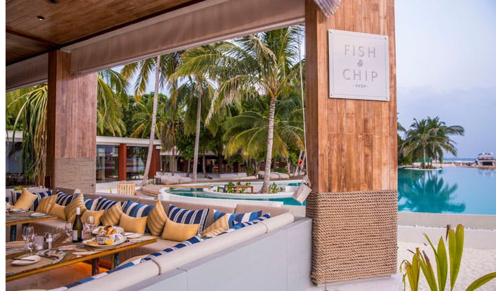 Fish and chip restaurant, amilla fushi, the maldives