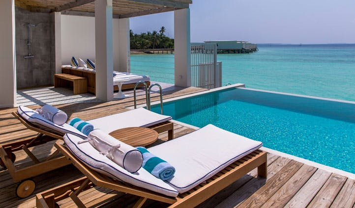 Amilla Fushi lagoon deck, the maldives