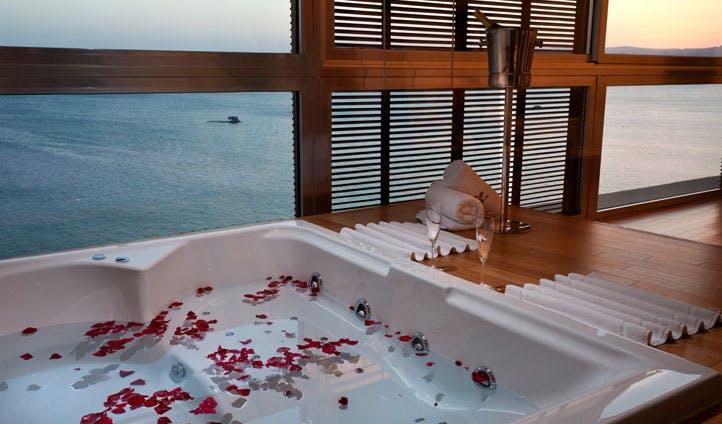 Sea views from the bath at the Kempinski Hotel Aqaba, Jordan